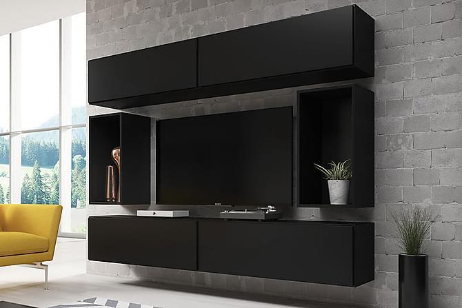 Olohuoneen kalustesetti Roco - Musta | Harmaa - Huonekalut - TV- & Mediakalusteet - TV-kalustepaketti