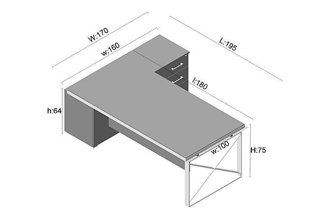 Toimistokalustepaketti Dunsop 205 cm - Pähkinä/Hopea - Huonekalut - Kalustesetit - Toimistokalustekokonaisuus