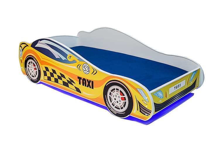 Lastensänky Dusko Taksi 80x160 LED - Keltainen - Huonekalut - Lasten kalusteet - Lastensängyt & juniorisängyt