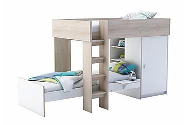 Sänky vaatekaapilla Valkoinen/Tammi