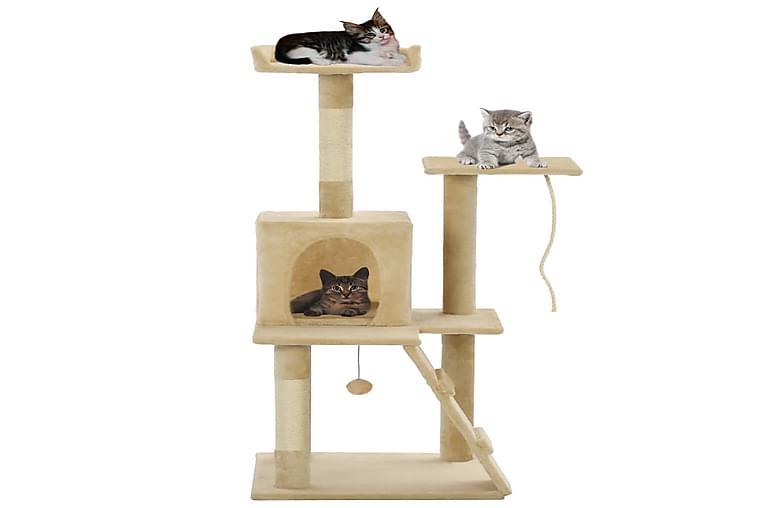 Kissan kiipeilypuu sisal-pylväillä 120 cm beige - Beige - Huonekalut - Lemmikkien kalusteet - Kissojen kalusteet