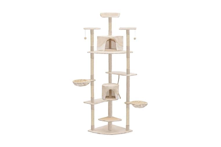 Kissan kiipeilypuu sisal-pylväillä 203 cm beige ja valkoinen - Monivärinen - Huonekalut - Lemmikkien kalusteet - Kissojen kalusteet