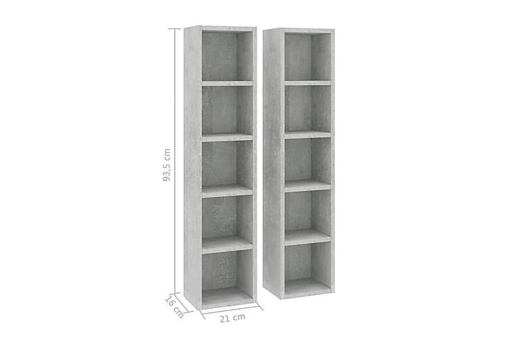 CD-hyllyt 2 kpl betoninharmaa 21x16x93,5 cm lastulevy - Huonekalut - TV- & Mediakalusteet - CD-hyllyt & DVD-hyllyt