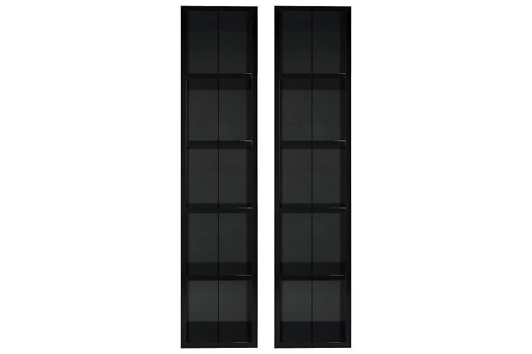 CD-hyllyt 2 kpl korkeakiilto musta 21x16x93,5 cm lastulevy - Huonekalut - TV- & Mediakalusteet - CD-hyllyt & DVD-hyllyt