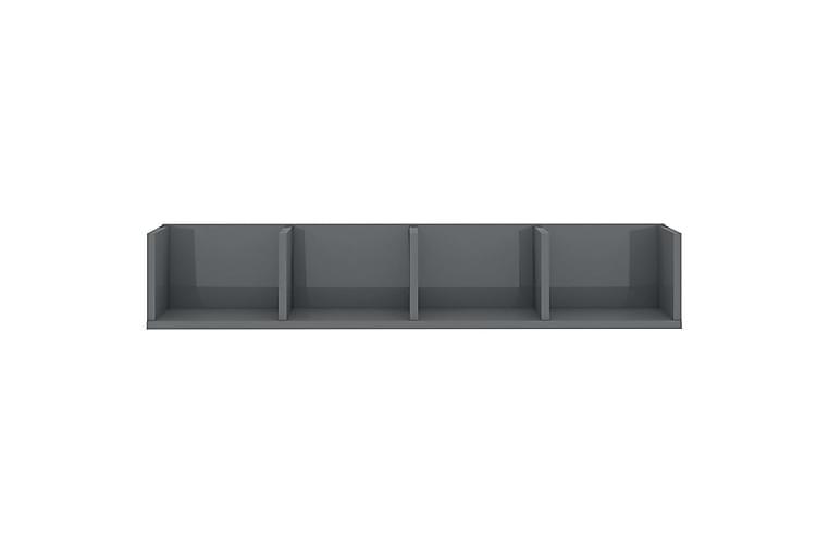 CD-seinähylly korkeakiilto harmaa 100x18x18 cm lastulevy - Harmaa - Huonekalut - TV- & Mediakalusteet - CD-hyllyt & DVD-hyllyt