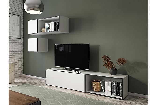 Olohuoneen kalustesetti Roco - Harmaa | Valkoinen - Huonekalut - TV- & Mediakalusteet - TV-kalustepaketti