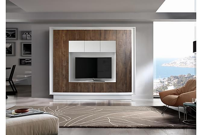 Seinäkokonaisuus Sky 240 cm - Valkoinen/Puu/L.väri/Ruskea - Huonekalut - TV- & Mediakalusteet - TV-kalustepaketti