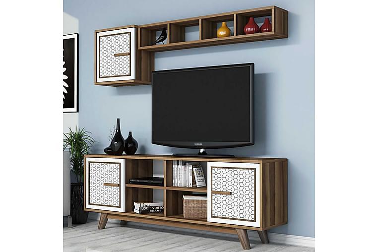 TV-kalustepaketti Amtorp 160 cm - Ruskea/Valkoinen - Huonekalut - TV- & Mediakalusteet - TV-kalustepaketti