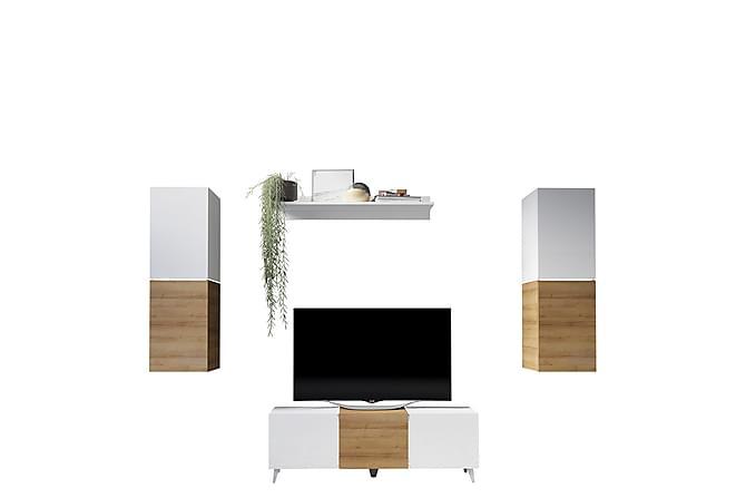 TV-kalustepaketti Domino - Harmaa | Valkoinen - Huonekalut - TV- & Mediakalusteet - TV-kalustepaketti