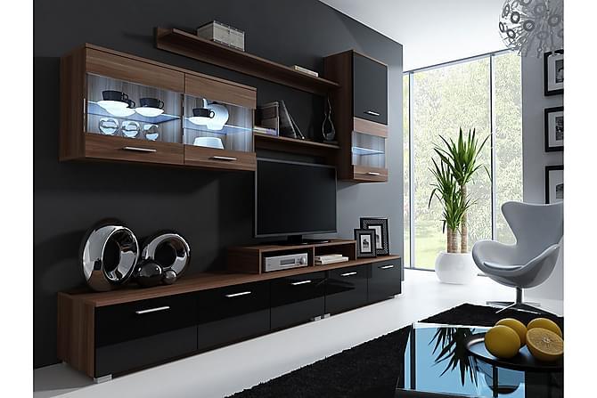 TV-kalustepaketti LED Logo 250x42x190 cm - Ruskea - Huonekalut - TV- & Mediakalusteet - TV-kalustepaketti