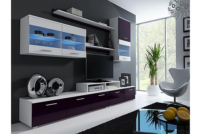 TV-kalustepaketti LED Logo 250x42x190 cm - Valkoinen - Huonekalut - TV- & Mediakalusteet - TV-kalustepaketti