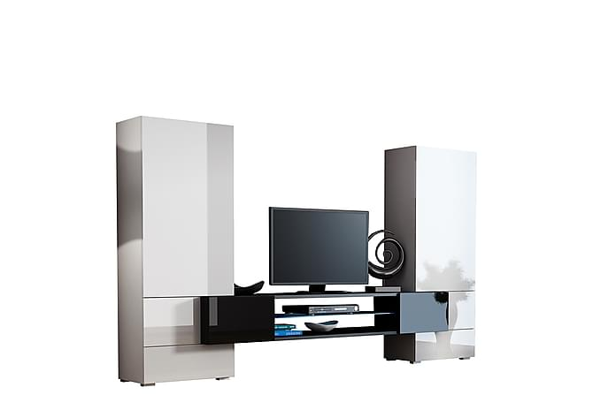 TV-kalustepaketti LED Tori 278x46x162 cm - Harmaa | Valkoinen - Huonekalut - TV- & Mediakalusteet - TV-kalustepaketti