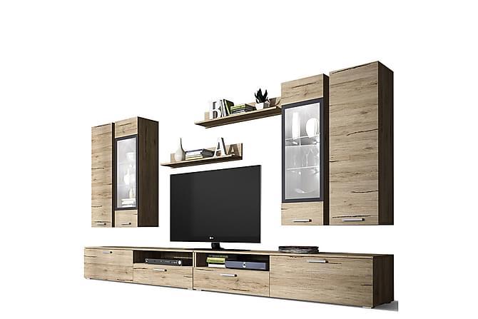 TV-kalustepaketti Sarah 180x40x150 cm - Beige/Musta - Huonekalut - TV- & Mediakalusteet - TV-kalustepaketti