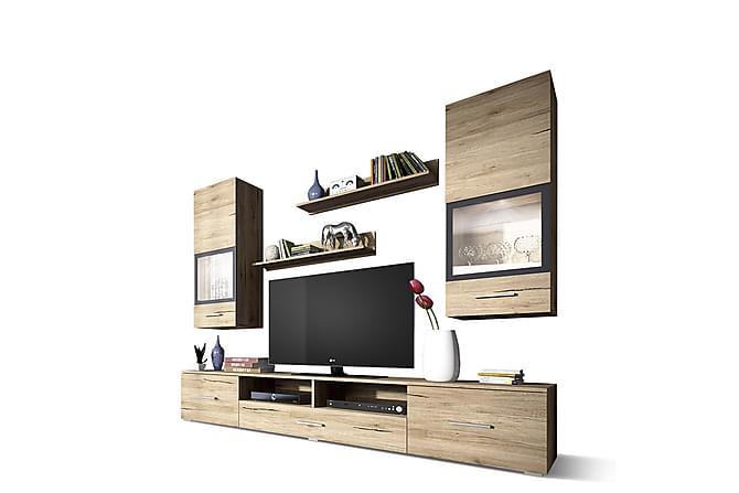 TV-kalustepaketti Sarah 210x40x150 cm - Beige - Huonekalut - TV- & Mediakalusteet - TV-kalustepaketti