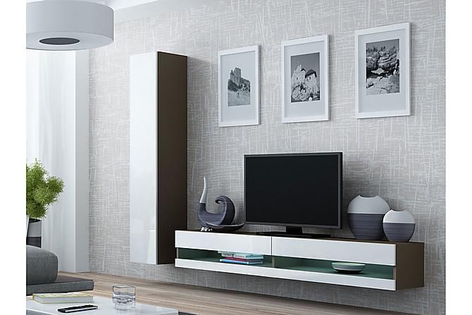 TV-kalustepaketti Vigo 220x40x180 cm - Beige | Harmaa | Valkoinen - Huonekalut - TV- & Mediakalusteet - TV-kalustepaketti