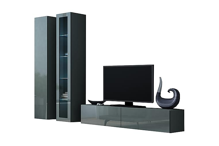 TV-kalustepaketti Vigo 220x40x180 cm - Musta / Harmaa - Huonekalut - TV- & Mediakalusteet - TV-kalustepaketti