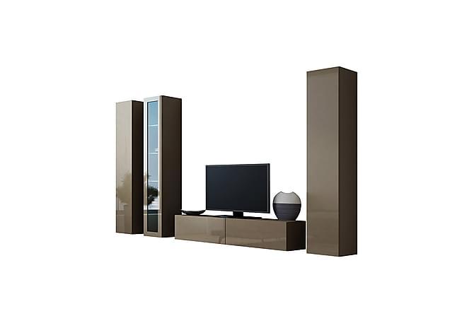 TV-kalustepaketti Vigo 260x40x180 cm - Beige - Huonekalut - TV- & Mediakalusteet - TV-kalustepaketti