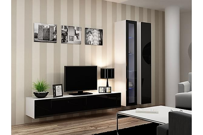 TV-kalustepaketti Vigo 260x40x180 cm - Beige | Musta | Valkoinen - Huonekalut - TV- & Mediakalusteet - TV-kalustepaketti