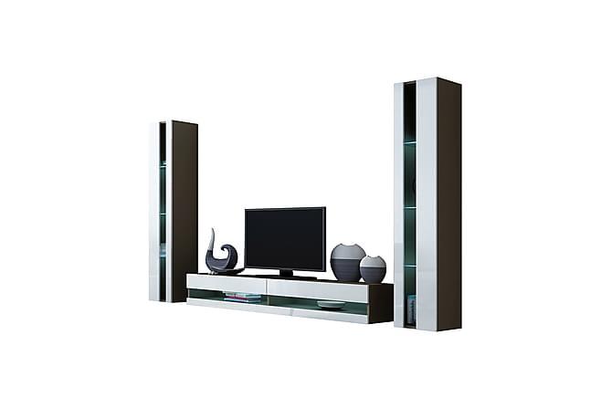 TV-kalustepaketti Vigo 260x40x180 cm - Harmaa   Valkoinen - Huonekalut - TV- & Mediakalusteet - TV-kalustepaketti