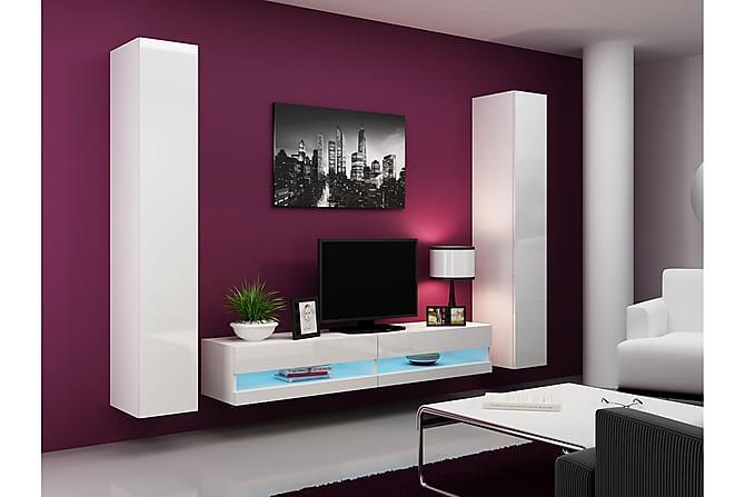 TV-kalustepaketti Vigo 260x40x180 cm - Liila/Valkoinen - Huonekalut - TV- & Mediakalusteet - TV-kalustepaketti