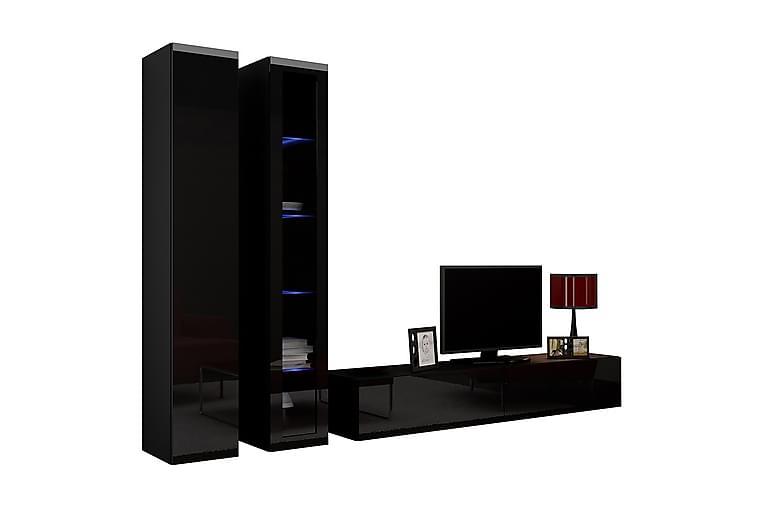 TV-kalustepaketti Vigo 260x40x180 cm - Musta/Valkoinen - Huonekalut - TV- & Mediakalusteet - TV-kalustepaketti