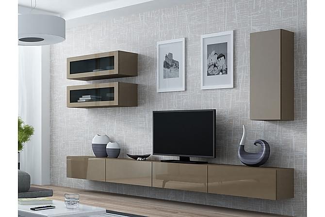 TV-kalustepaketti Vigo 280x40x180 cm - Beige/Harmaa - Huonekalut - TV- & Mediakalusteet - TV-kalustepaketti