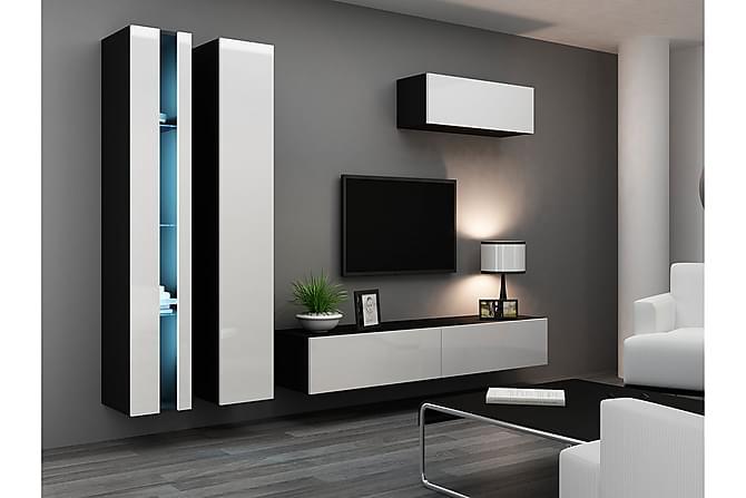 TV-kalustepaketti Vigo 300x40x180 cm - Harmaa | Valkoinen - Huonekalut - TV- & Mediakalusteet - TV-kalustepaketti