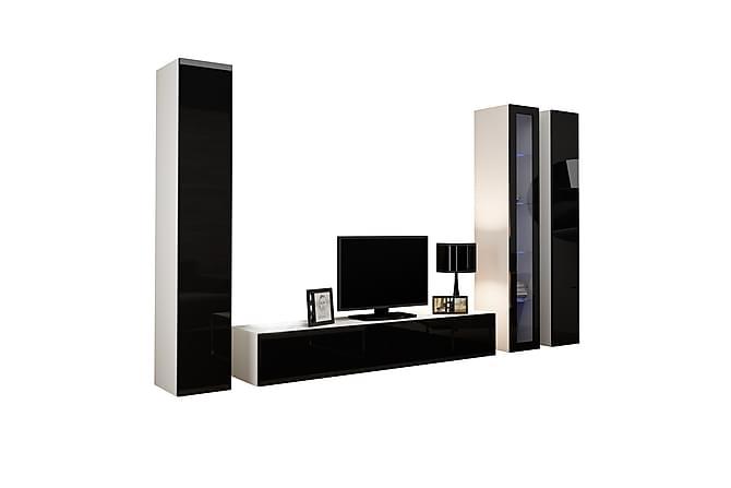 TV-kalustepaketti Vigo 300x40x180 cm - Musta/Valkoinen - Huonekalut - TV- & Mediakalusteet - TV-kalustepaketti