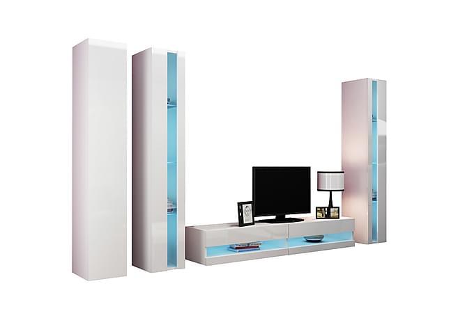 TV-kalustepaketti Vigo 300x40x180 cm - Valkoinen - Huonekalut - TV- & Mediakalusteet - TV-kalustepaketti