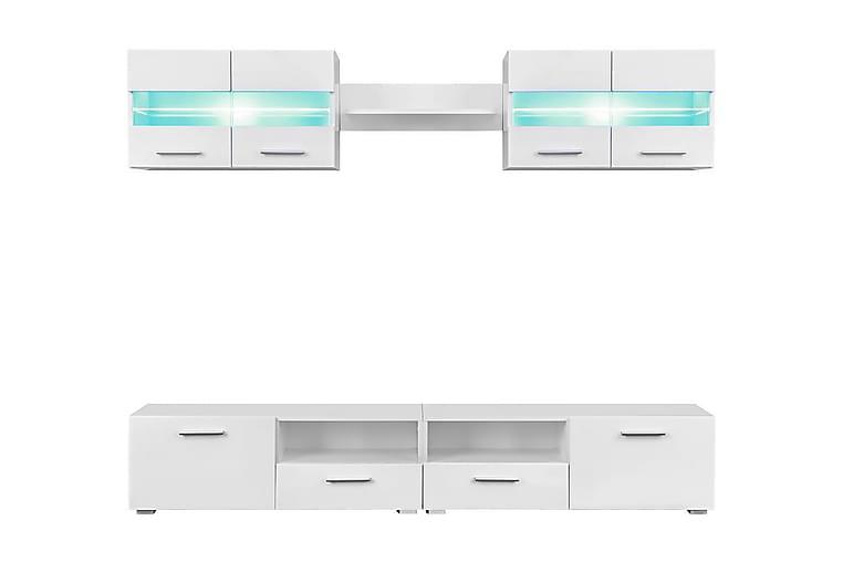 TV-kalustekokonaisuus LED-valot 5 osaa korkeakiilto - Valkoinen - Huonekalut - TV- & Mediakalusteet - Tv-tasot & Mediatasot