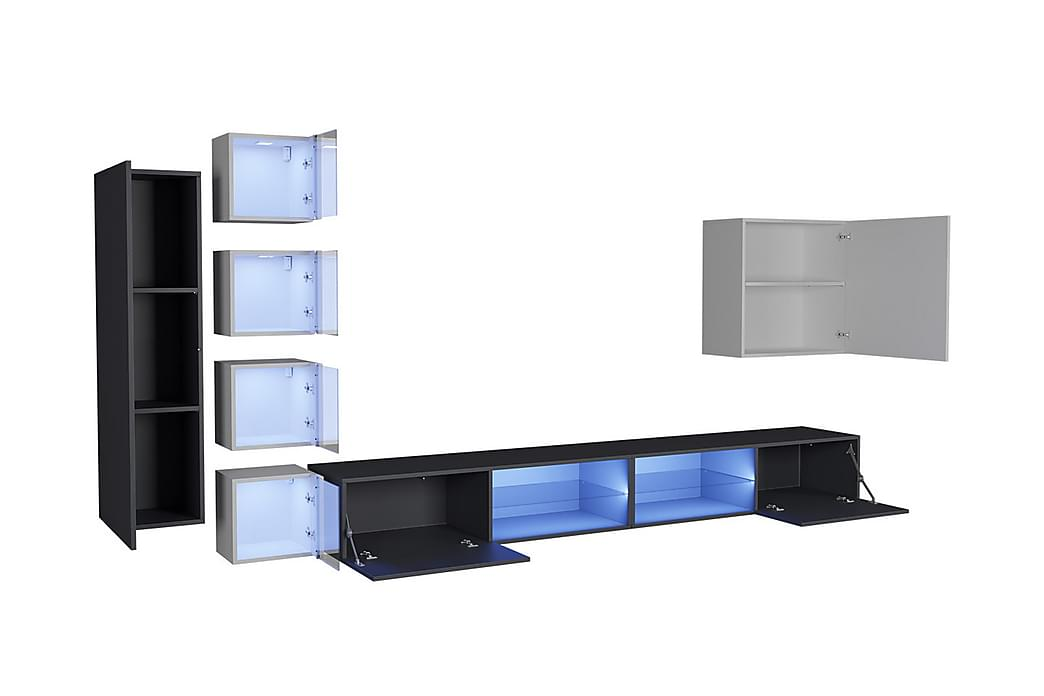 TV-kalustepaketti Vidara + LED - Musta kiiltävä/Valk kiiltävä - Huonekalut - TV- & Mediakalusteet - Tv-tasot & Mediatasot