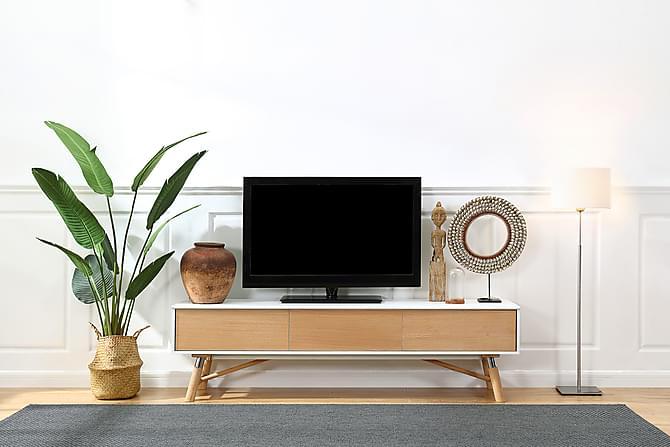 TV-taso Carlow 180 cm - Valkoinen/tammi - Huonekalut - TV- & Mediakalusteet - Tv-tasot & Mediatasot