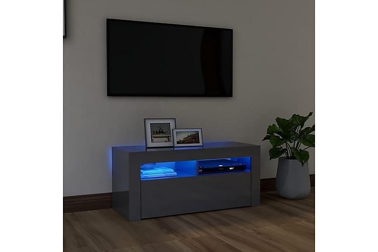 TV-taso LED-valoilla korkeakiilto harmaa 90x35x40 cm - Huonekalut - TV- & Mediakalusteet - Tv-tasot & Mediatasot