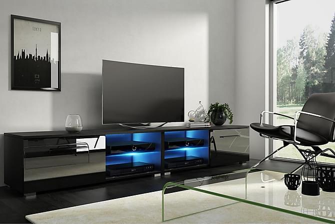 TV-taso Terisa 200 cm LED-valaistus - Musta - Huonekalut - TV- & Mediakalusteet - Tv-tasot & Mediatasot