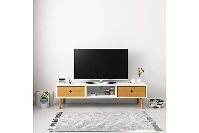 TV-taso valkoinen 120x35x35 cm täysi mänty - Valkoinen - Huonekalut - TV- & Mediakalusteet - Tv-tasot & Mediatasot