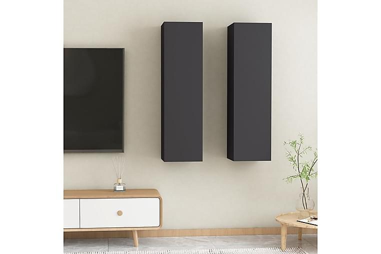 TV-tasot 2 kpl harmaa 30,5x30x110 cm lastulevy - Huonekalut - TV- & Mediakalusteet - Tv-tasot & Mediatasot