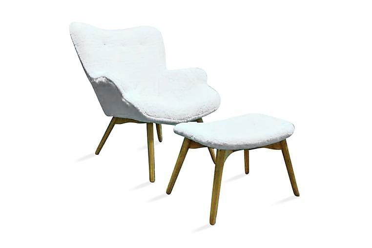 Nojatuoli Bellce jalkarahilla - Valkoinen/Teddy - Huonekalut - Nojatuolit & rahit - Nojatuolit & lepotuolit