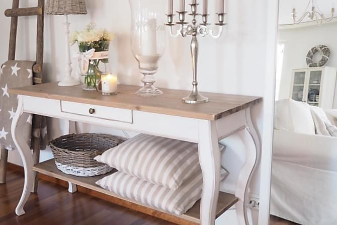 Sivupöytä Ekensholm 180 cm - Valkoinen/Beige - Huonekalut - Pöydät - Lamppupöydät & sivupöydät