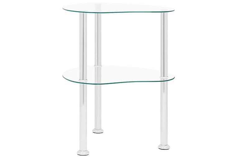 2-tasoinen sivupöytä läpinäkyvä 38x38x50 cm karkaistu lasi - Läpinäkyvä - Sisustustuotteet - Pienet kalusteet - Tarjotinpöydät & pienet pöydät