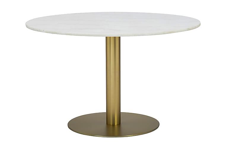 Ruokapöytä Justine 106 cm Pyöreä Marmori - Valkoinen/Harj. messinki - Huonekalut - Pöydät - Ruokapöydät & keittiön pöydät
