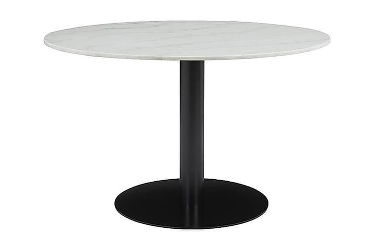 Ruokapöytä Justine 106 cm Pyöreä Marmori - Valkoinen/Musta - Huonekalut - Pöydät - Ruokapöydät & keittiön pöydät