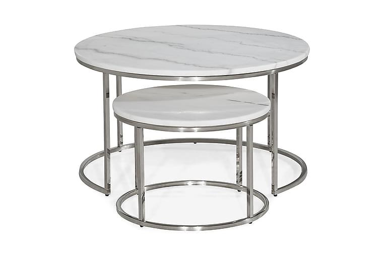 Sarjapöytä Titania 80 cm/50 cm Pyöreä Marmori - Valkoinen/Kromi - Huonekalut - Pöydät - Sohvapöydät