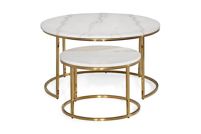 Sarjapöytä Titania 80 cm/50 cm Pyöreä Marmori - Valkoinen/Messinki - Huonekalut - Pöydät - Sohvapöydät