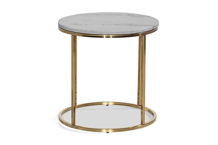 Sivupöytä Titania 50 cm Pyöreä Marmori - Harmaa/Messinki - Sisustustuotteet - Pienet kalusteet - Tarjotinpöydät & pienet pöydät