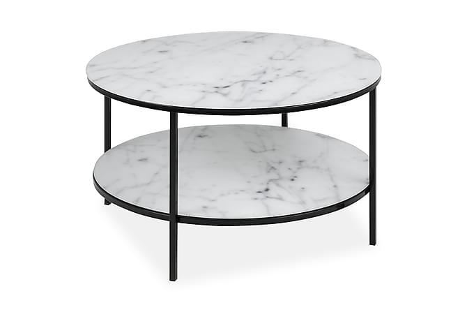 Sohvapöytä Alisma 80 cm Pyöreä - Valkoinen/Musta/Harmaa - Huonekalut - Pöydät - Sohvapöydät