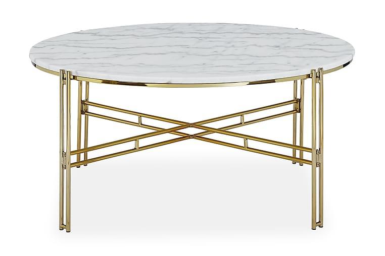 Sohvapöytä Sisko 100 cm Pyöreä Marmori - Valkoinen/Messinki - Huonekalut - Pöydät - Sohvapöydät