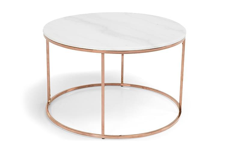 Sohvapöytä Titania 80 cm Pyöreä Marmori - Valkoinen/Kupari - Huonekalut - Pöydät - Sohvapöydät