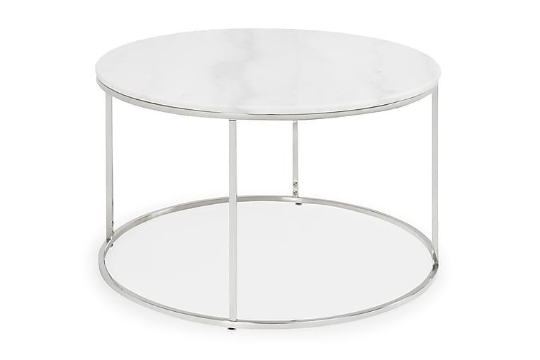 Sohvapöytä Titania 80 cm Pyöreä Marmori - Valkoinen/Teräs - Huonekalut - Pöydät - Sohvapöydät