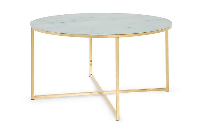 Sohvapöytä Valeria 80 cm Pyöreä - Marmorilasi/Messinki - Huonekalut - Pöydät - Sohvapöydät