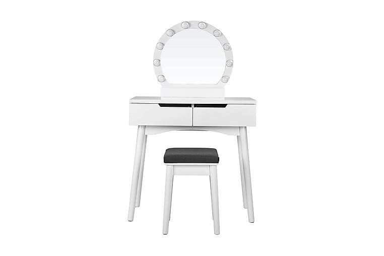 Meikkipöytä Emerson 128 cm peilillä - Valkoinen - Huonekalut - Pöydät - Meikki- & kampauspöydät